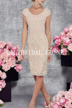 Lace Scoop Neck Half Sleeves Knee-Length Two Piece Mother Of The Bride Dresses