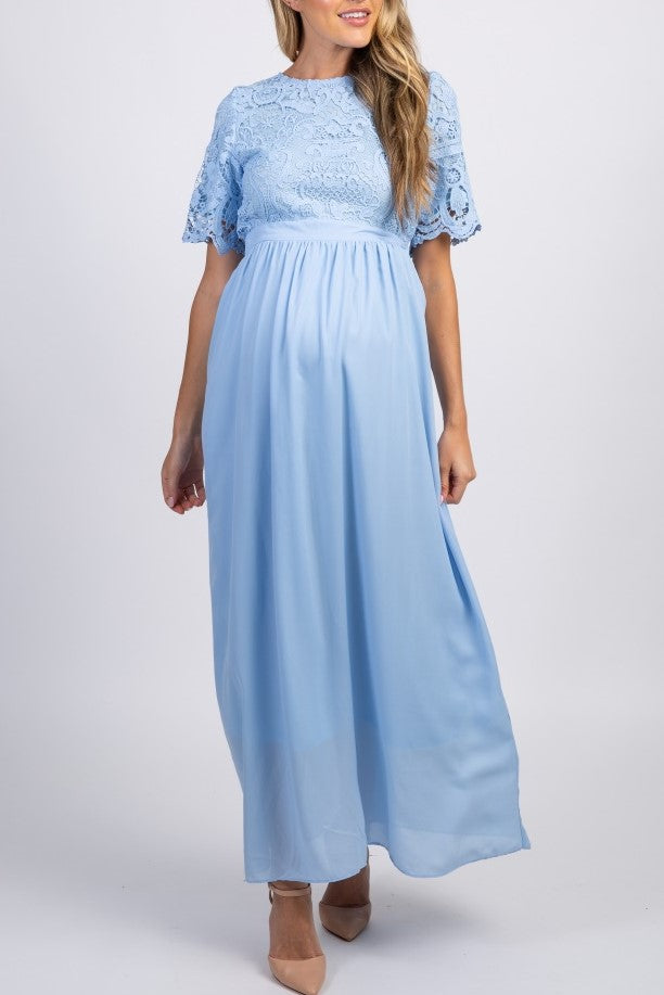 Lace Scoop Neck Short Sleeves Ankle-Length Sheath Chiffon Maxi Maternity Bridesmaid Dress