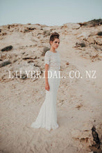 Elegant Lace Illusion Scoop Neck Short Sleeves Two Piece Long Mermaid Wedding Dresses