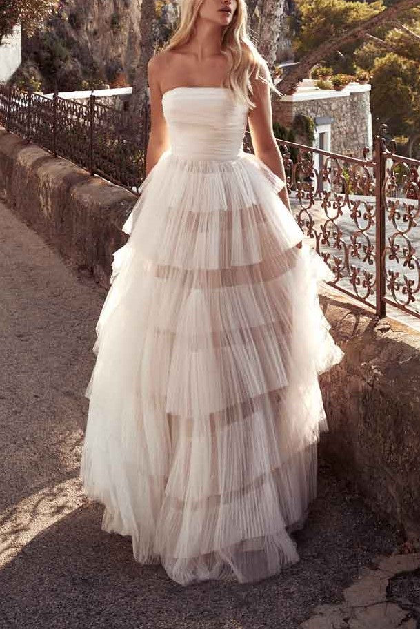 Layers Strapless Sleeveless Zipper-Up Long Tulle Bridal Wedding Dress with Sweep Train