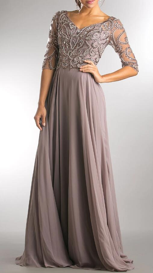 Luxury Beading Illusion V-Neck Half Sleeves Zipper-Up Long Chiffon Mother Of The Bride Dress