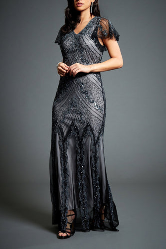 Luxury Beading Sequin V-Neck Short Sleeves Zipper-Up Floor-Length Mother Of The Bride Dress