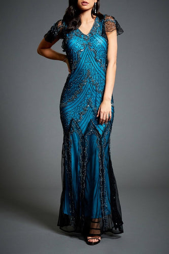 Luxury Beading Sequin V-Neck Short Sleeves Floor-Length Mermaid Mother Of The Bride Dress
