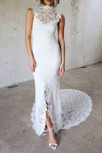 Luxury Lace Illusion High Neck Cap Sleeves Open Back Long Slit Bridal Wedding Dress