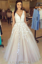 Bridal Style Appliqué White Tulle Sleeveless A-Line Gown