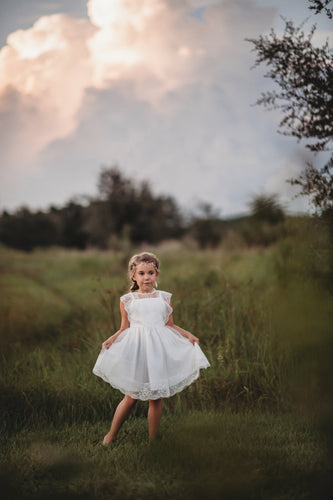 Cute Lace Illusion Scalloped Edge Neck Cap Sleeves Zipper-Up Knee-Length Flower Girl Dress