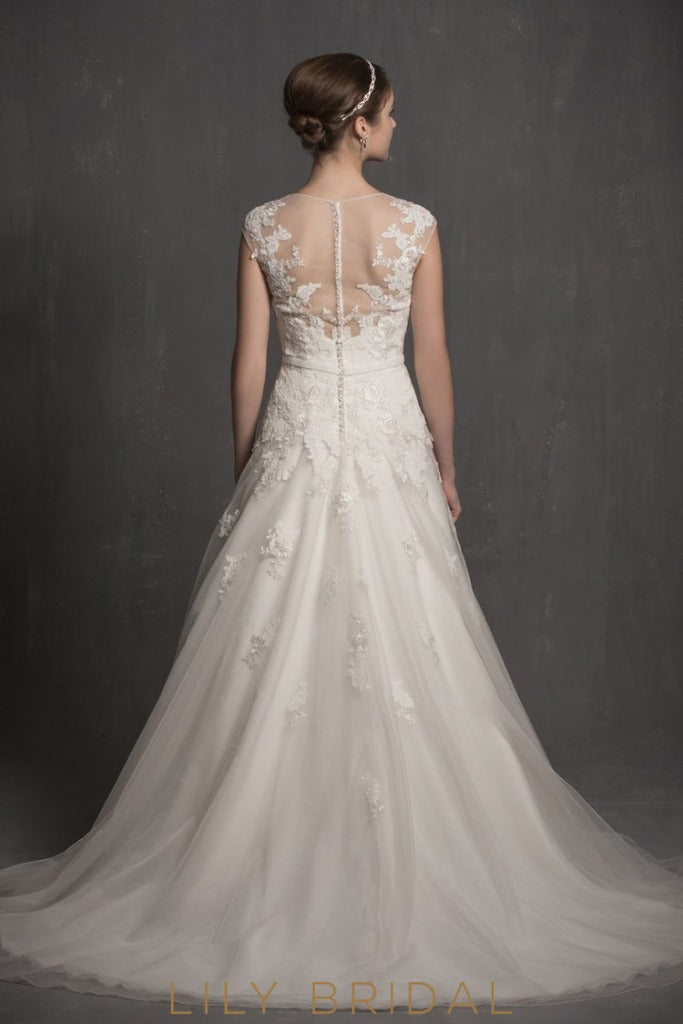 Elegant V-Neck Cap Sleeves Appliques Lace Wedding Dress With Illusion Back Dresses