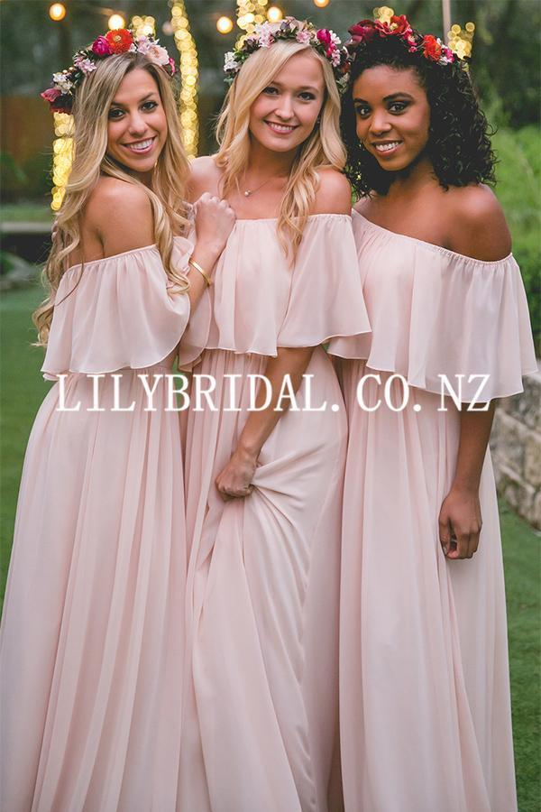 Elegant Off Shoulder Half Sleeves Floor-Length Sheath Chiffon Bridesmaid Dress