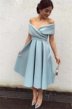 Elegant Off Shoulder Short Sleeves Tea-length Solid A-Line Satin Cocktail Dress