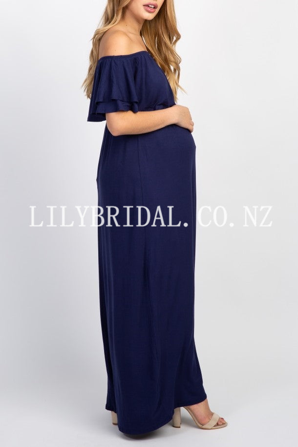 Elegant Off Shoulder Short Sleeves Ankle-Length Maxi Maternity Bridesmaid Dress