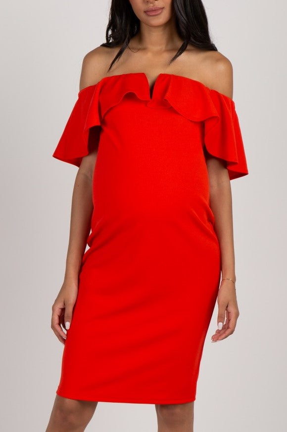 Chic Off Shoulder Short Sleeves Short Sheath Red Maxi Maternity Bridesmaid Dress