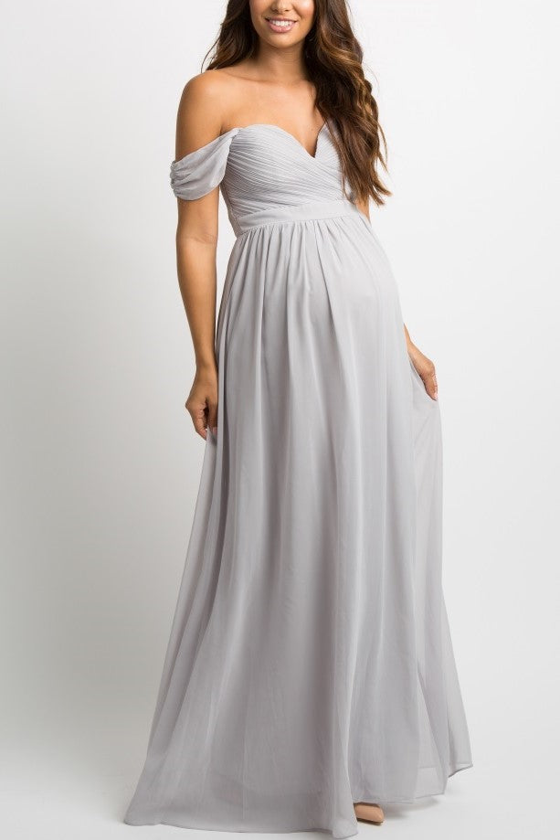 Off Shoulder Zipper-Up Floor-Length Sheath Chiffon Maxi Maternity Bridesmaid Dress
