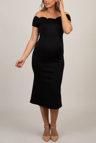 Elegant Off Shoulder Zipper-Up Tea-Length Bodycon Maternity Bridesmaid Dress