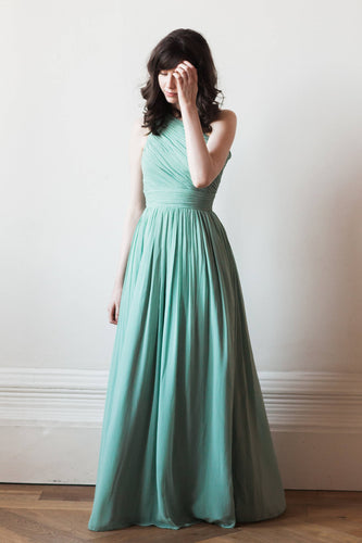 Elegant One Shoulder Sleeveless Floor-Length Ruched Sheath Chiffon Bridesmaid Dress