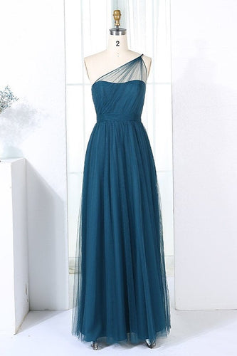 Elegant One Shoulder Sleeveless Floor-Length Sheath Ruched Tulle Bridesmaid Dress