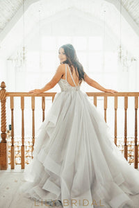 Princess-Like Ball Gown Dress Silhouette Ruffled Floor-Length Skirt Jewel Neckline Wedding Dress