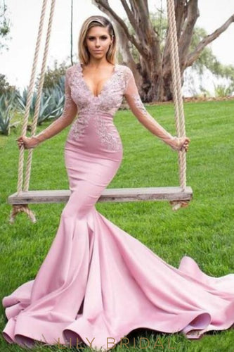 Mermaid Deep V-Neck Long Sleeves Court Train Prom Dress