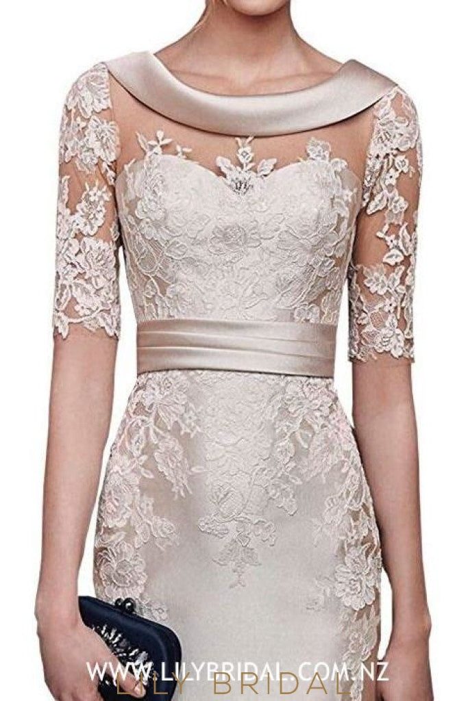 Elegant Lace Illusion Scoop Neck Short Sleeves Short Sheath Mother of the Bride Dress