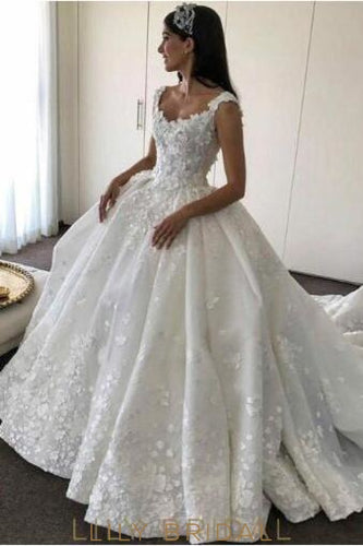 Fabulous Floor Length Ivory Wedding Dresses Off-the Shoulder with Floral Appliques