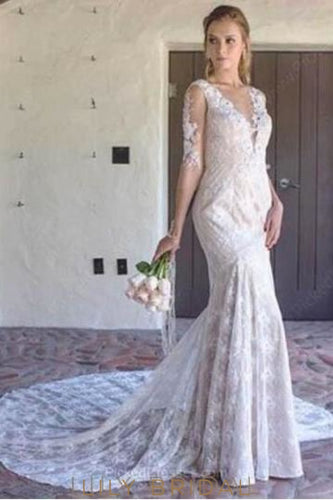 Applique Lace Illusion Sheer Neck Half Sleeves Backless Long Sheath Wedding Dress