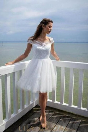 Scoop Neck Cap Sleeve Short Wedding Dress With Lace Applique Lilybridal,Beach Wedding Guest Dresses White