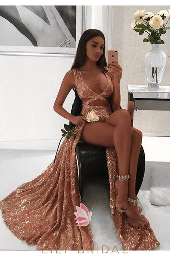 Rust Sequin Low V-Neck Cut Out Prom Dress With Slits