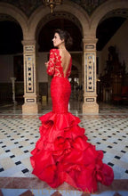 Mermaid Long Sleeves Backless Lace Satin Layered Prom Dress