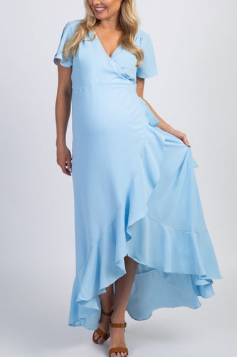Ruffles V-Neck Short Sleeves High-Low Sky Blue Chiffon Maxi Maternity Bridesmaid Dress