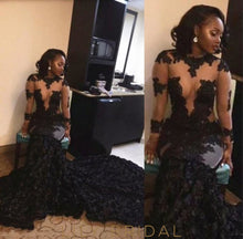 Luxurious Ruffled Mermaid Long Black Prom Gown Long Sleeve Illusion Lace
