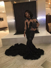 Luxurious Ruffled Mermaid Long Black Prom Gown Sleeve Illusion Lace
