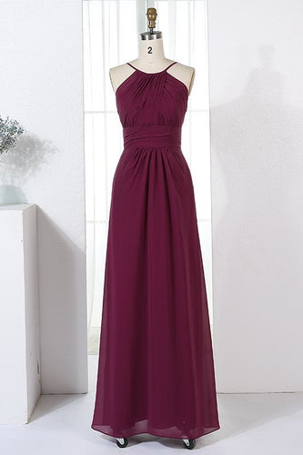Jewel Neck Sleeveless Zipper-Up Floor-Length Sheath Ruched Chiffon Bridesmaid Dress