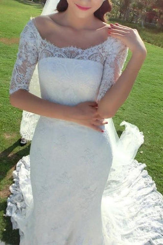 Luxury Lace Off Shoulder Mermaid Bridal Gown Half Sleeves Zipper-Up Wedding Dress