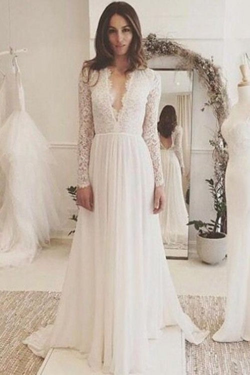 Sexy Lace Scalloped Edge Neck Long Sleeves Backless Long Wedding Dress Lilybridal