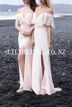 Sexy Spaghetti Straps Cold Shoulder Long Sheath Slit Chiffon Bridesmaid Dress