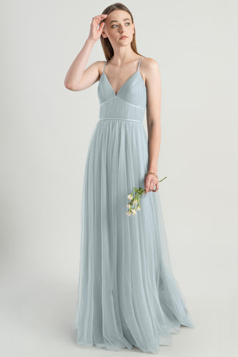 Sexy Spaghetti Straps Sleeveless Backless Long Tulle Bridesmaid Dress