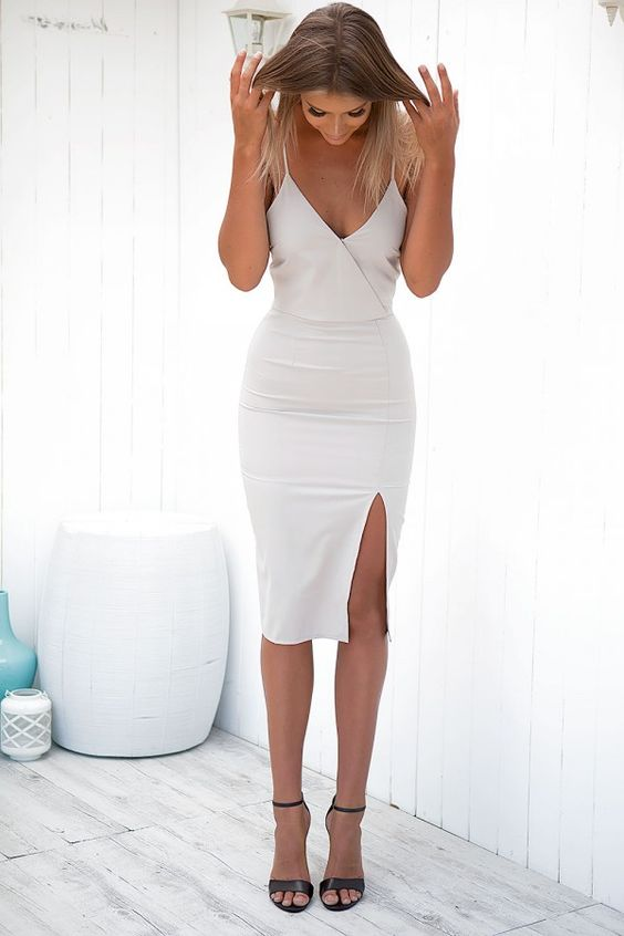 Sexy Spaghetti Straps Sleeveless Zipper-Up Knee-Length Solid Slit Bodycon Cocktail Dress