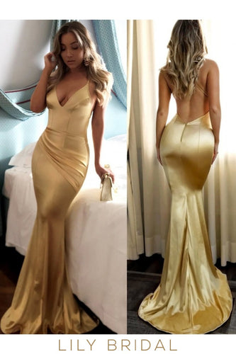 Gold Satin Mermaid Open Back Deep V-Neck Prom Dress