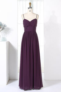 Spaghetti Straps Sleeveless Zipper-Up Floor-Length Ruched Sheath Chiffon Bridesmaid Dress