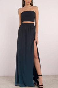 Elegant Strapless Sleeveless Two Piece Floor-Length Slit Chiffon Bridesmaid Dresses