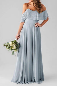 Elegant Strapless Sleeveless Zipper-Up Long Solid Chiffon Bridesmaid Dress with Sweep Train