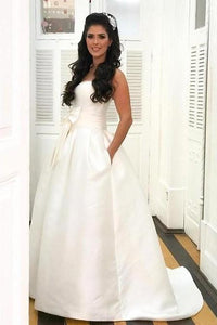 Sexy Sweetheart Sleeveless Bridal Gown Vintage Long Satin Princess Wedding Dress