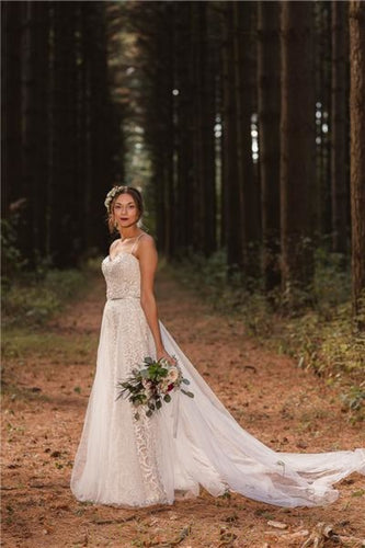Spaghetti Straps Sweetheart Sleeveless Long Sheath Wedding Dress with Overskirt