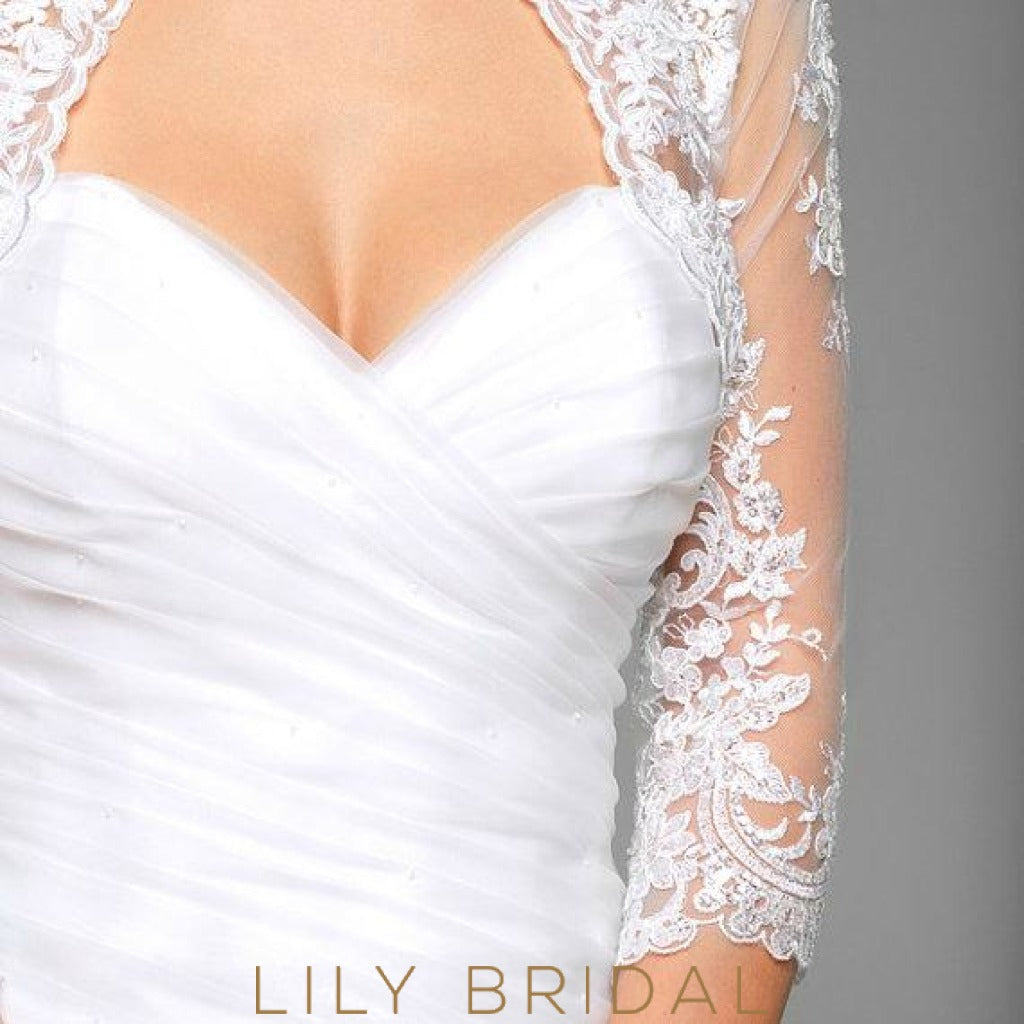3/4 Sheer Tulle Sleeve Bridal Cape
