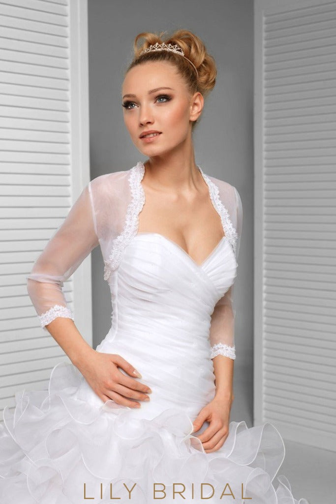 3/4 Sleeve Illusion Tulle Bridal Jacket Scalloped Lace Top