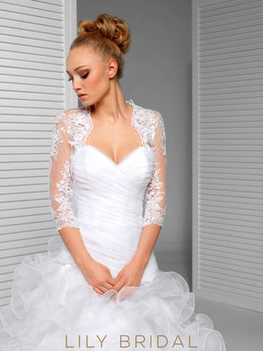 3/4 Sheer Tulle Sleeve Bridal Cape Scalloped Lace Top