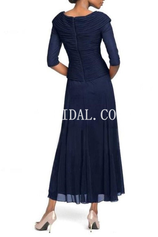 V-Neck Half Sleeves Zipper-Up Ankle-Length Ruched Chiffon Mother Of The Bride Dress