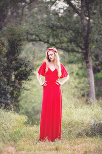 Elegant V-Neck Short Sleeves Backless Floor-Length Sheath Red Chiffon Bridesmaid Dress