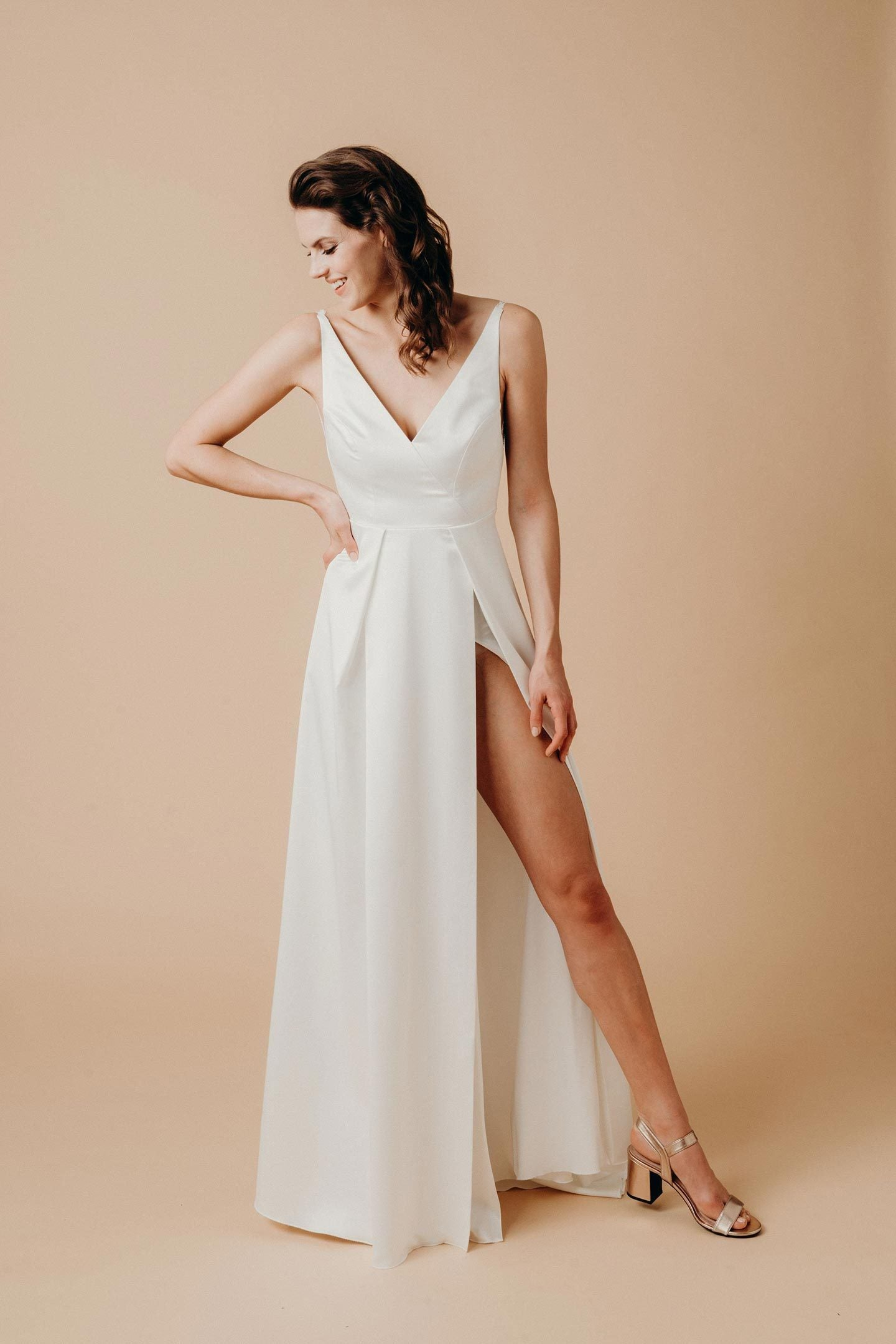 Sexy V-Neck Sleeveless Floor-Length Solid Sheath Slit Satin Wedding Dress