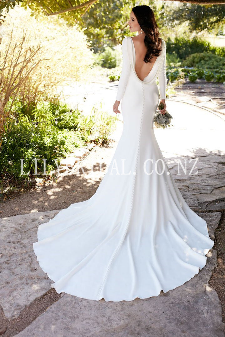 Vintage Bateau Neck Long Sleeves Backless Long Mermaid Bridal Wedding Dress