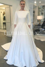 Vintage Bateau Neck Long Sleeves Long Solid Satin Bridal Wedding Dress with Court Train
